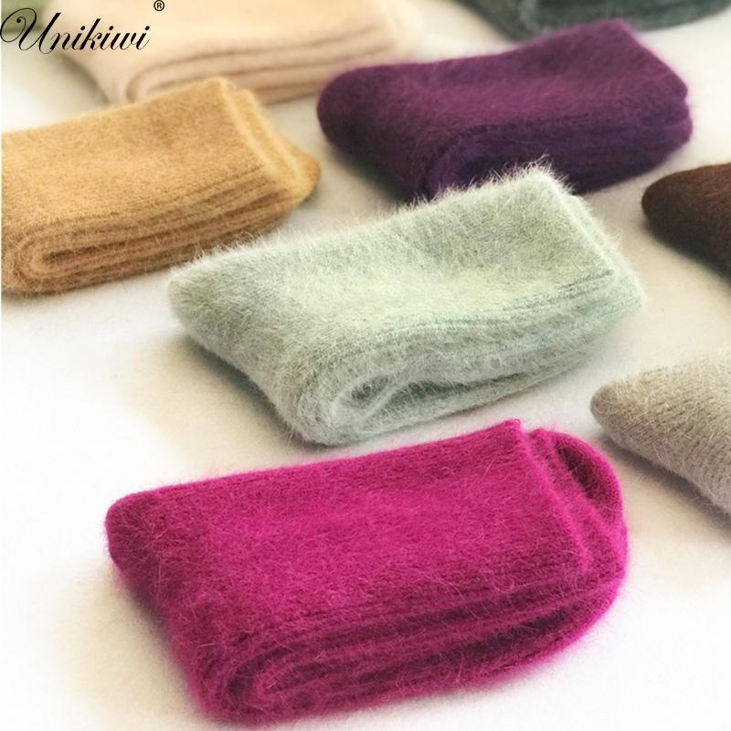 [해외]가을 겨울 Women & s 두꺼운 사탕 색깔 앙고라 양모 양말. 레이디스 부드러운 따뜻한 장발 토끼 울 짧은 양말 Basic Sox Hosen/Autumn Winter Women&s Thick Candy Color Angora Wool Socks.Lad