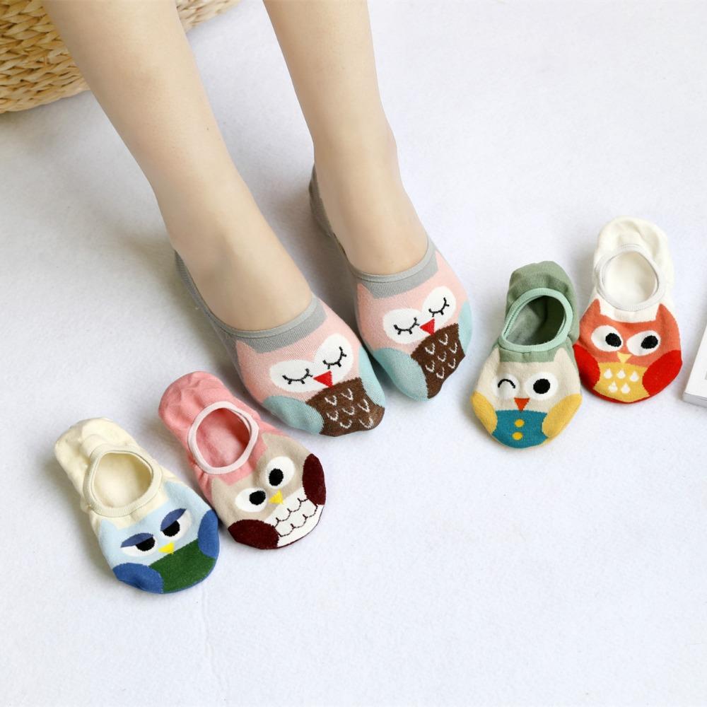 [해외]5 쌍 여름 귀여운 만화 올빼미 실리콘 Antiskid 보이지 않는 양말 발목면 양말 여자 보트 양말 슬리퍼 행복한 재밌 양말/5 Pairs Summer Cute Cartoon Owl Silicone Antiskid Invisible Socks Ankle Cot