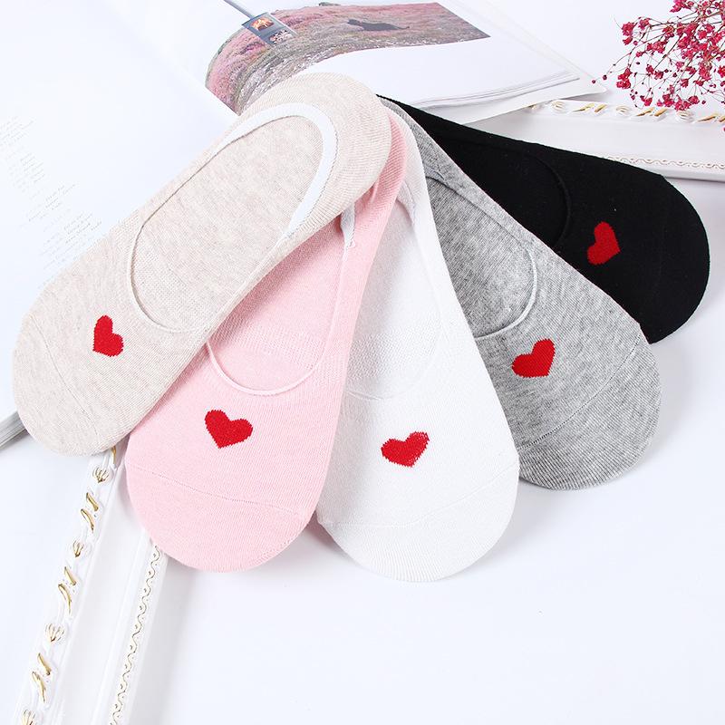 [해외]5pairs / lot 5 색 봄 따뜻한 패션 편안한 발목 짧은 보트 양말 여성 통풍 부드러운 니트 코튼 하트/5pairs/lot 5 Colors Spring Summer Hot Fashion Comfortable Ankle Short Boat Socks Wom