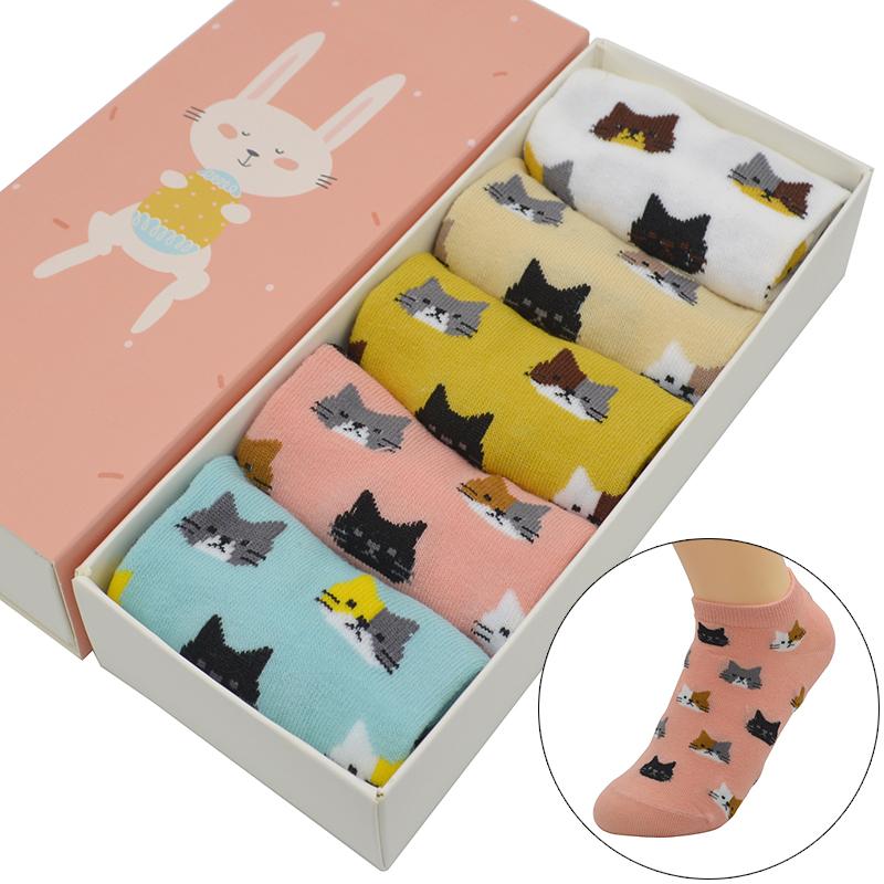 [해외]5 쌍 / 세트 귀여운 만화 작은 고양이 여성 양말면 Kawaii 귀여운 패션 소녀 여름 짧은 발목 보이지 않는 양말 선물 상자/5 Pair/set Cute Cartoon Little Cat Women Socks Cotton Kawaii Cute Fashion