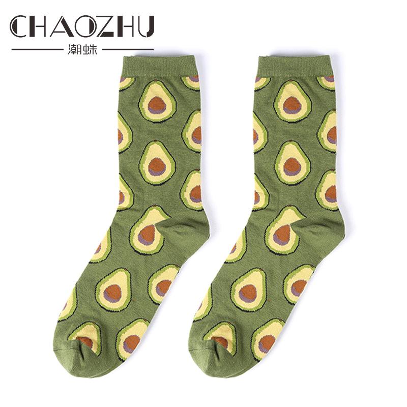 [해외]CHAOZHU 2018 새로운 만화 아보카도 패턴 여성 패션 양말 따뜻한면 니트 레이디 트렌디 스트리트 스냅 삭스/CHAOZHU 2018 New Cartoon Avocado Pattern Women Fashion Socks Warm Cotton Knitted L