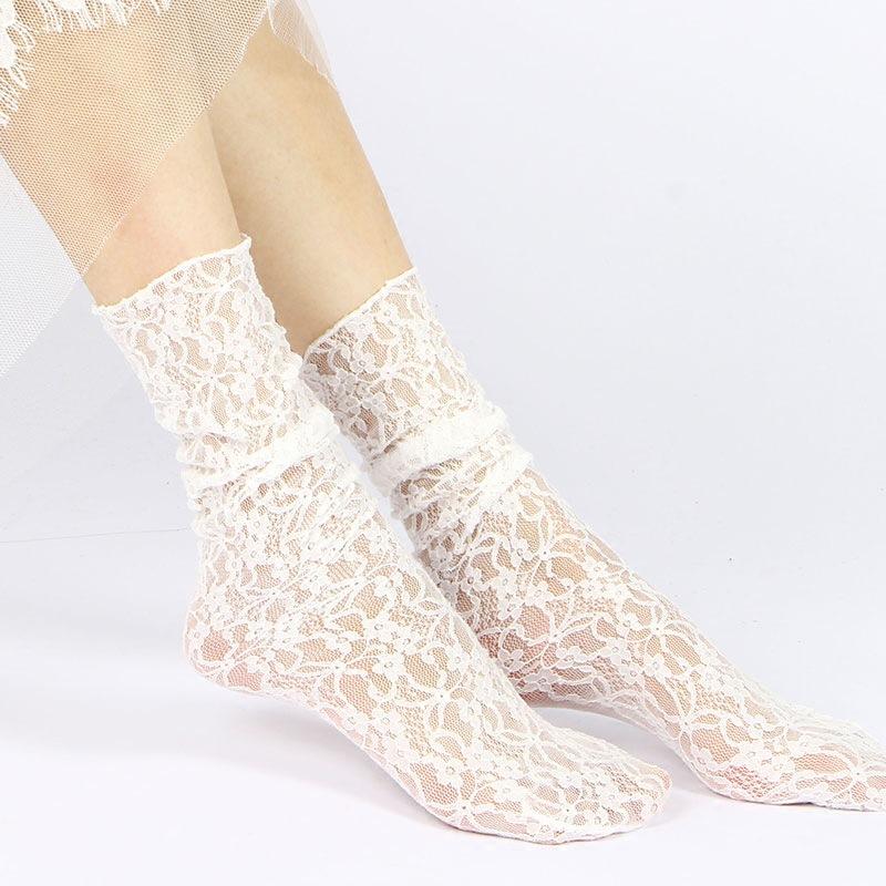 [해외]패션 여자 여자 레이스 발목 느슨한 양말 중공 하라주쿠 사랑스러운 귀여운 빈티지 복고풍 공주 레이디 화이트 프린세스 웨딩 여름/Fashion Women Girls Lace Ankle Loose Socks Hollow Harajuku Lovely Cute Vint