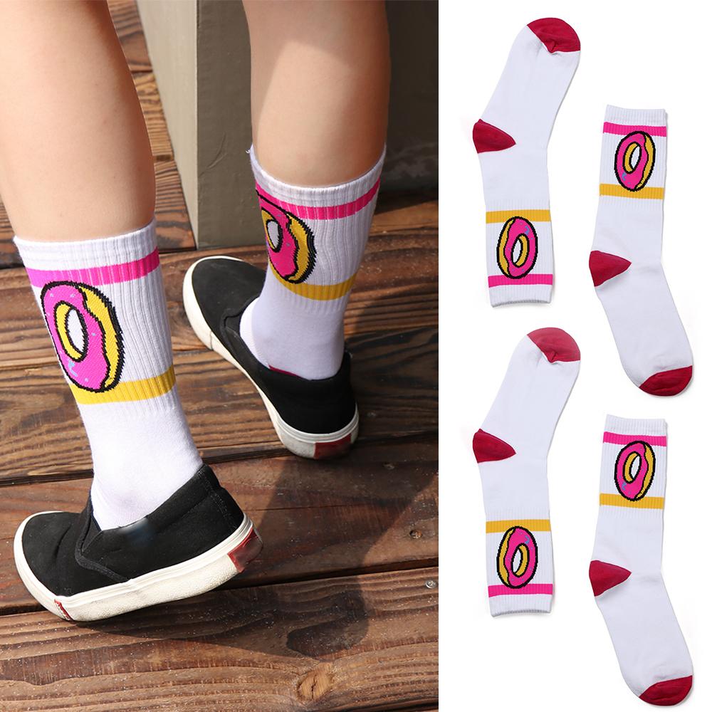 [해외]1 쌍의 미래 양말 도넛 그래픽 남성 여성 귀여운 면화 긴 양말 참신 스트라이프 스케이트 보드 양말/1 Pair future socks donut graphic men women cute  cotton long socks novelty striped skateb