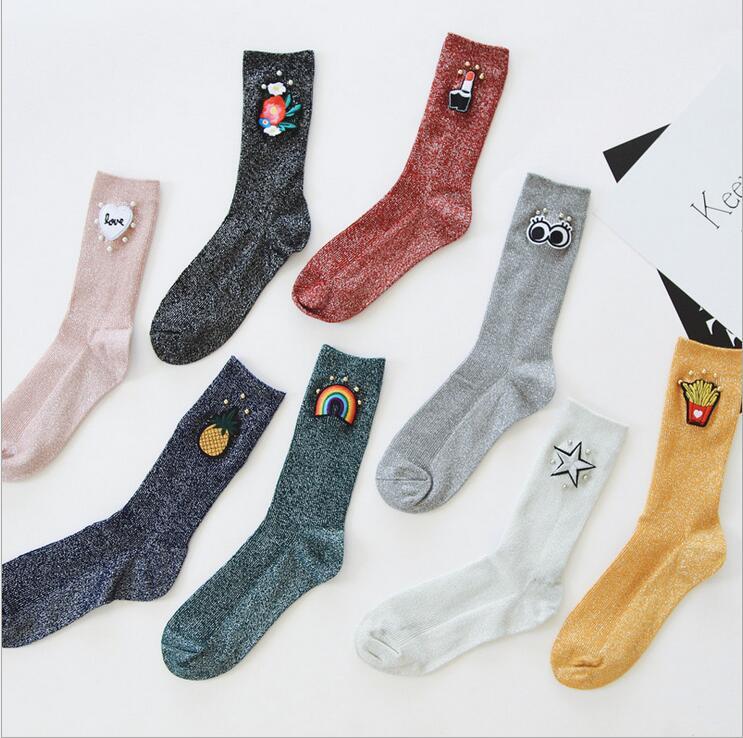 [해외]새 도착 여자 반짝이 양말 파인애플 레인보우 패턴 슬리버 슬릭 반짝 양말 가을 밝은 복고풍 간단한 여성 튜브 양말에/New Arrival Women Glitter Socks Pineapple Rainbow Pattern Sliver Slik Shiny Socks