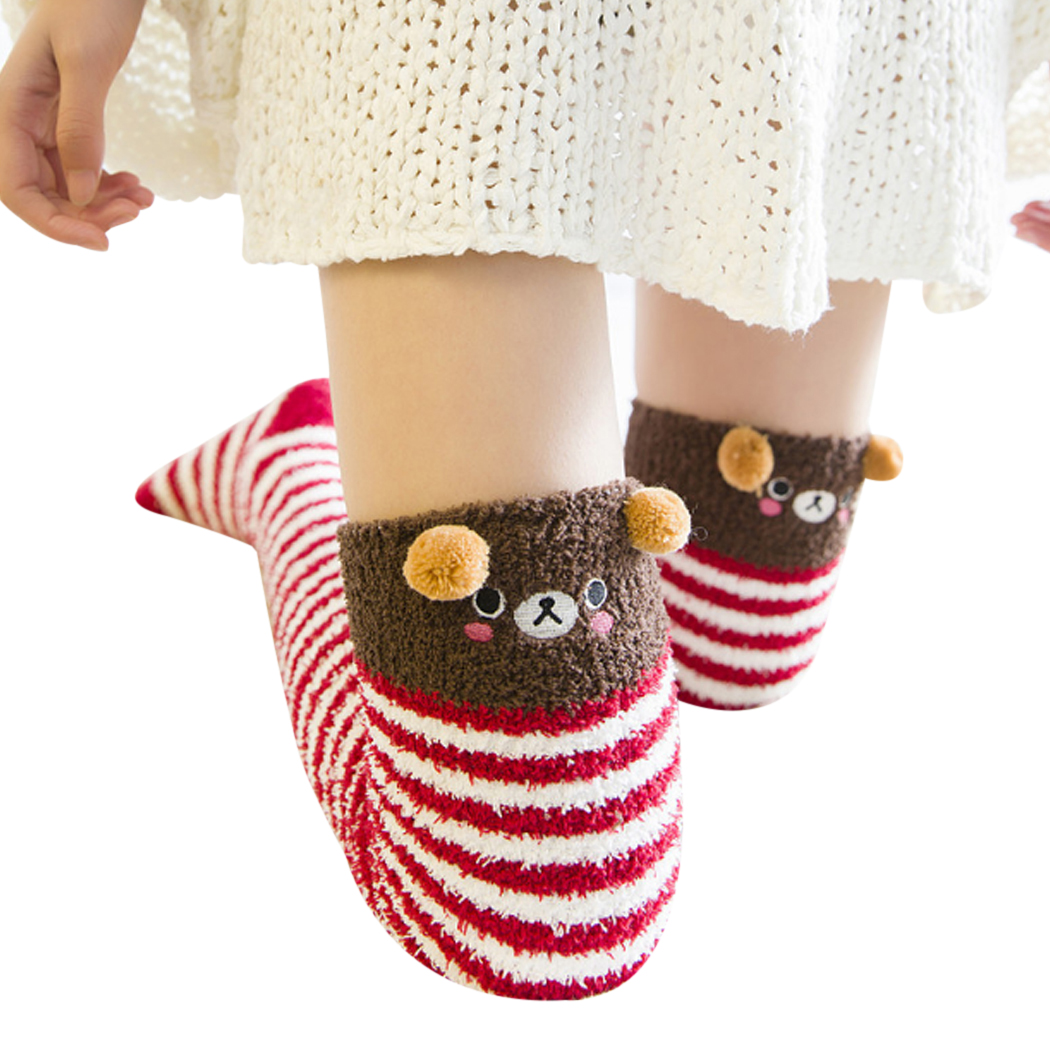 [해외]달콤한 귀여운 소녀 동물 모델링 양말 러블린 여성 벨벳 따뜻한 아늑한 긴 허벅지 높은 양말 Kawaii 압축 두꺼운 무릎 양말/Sweet Cute Girl Animal Modeling Socks Lovely Women Velvet Warm Cozy Long Th