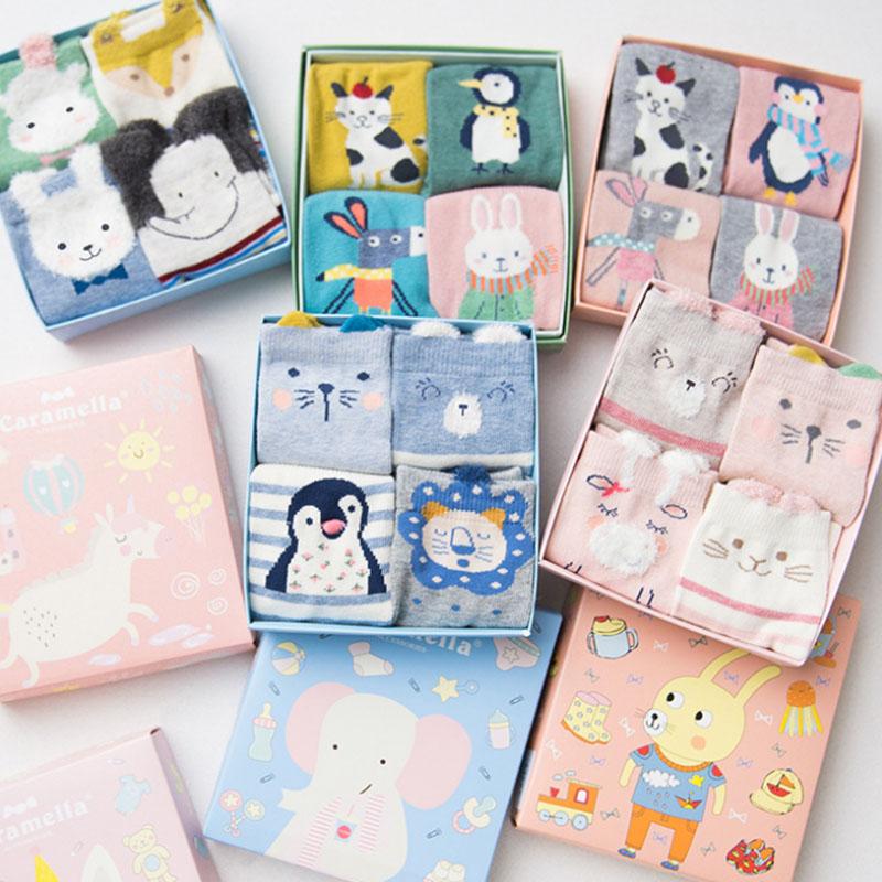[해외]크리스마스 선물 여자면 양말 Caramella 귀여운 일본 신선한 스타일 만화 3 차원 모양의 동물 여성 양말 4PCS/Christmas Gift Women Cotton Socks Caramella Cute Japanese Fresh Style Cartoon T
