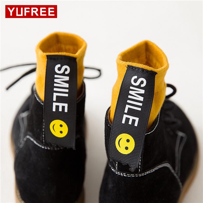 [해외]YUFREE 여성 레트로 양말 패션 디자이너 여성 스마일 레이블 양말 캐주얼 모든 경기면 양말 여성 다채로운/YUFREE Woman Retro Socks Fashion Designer Women Smiley label Socks Casual All-Match C