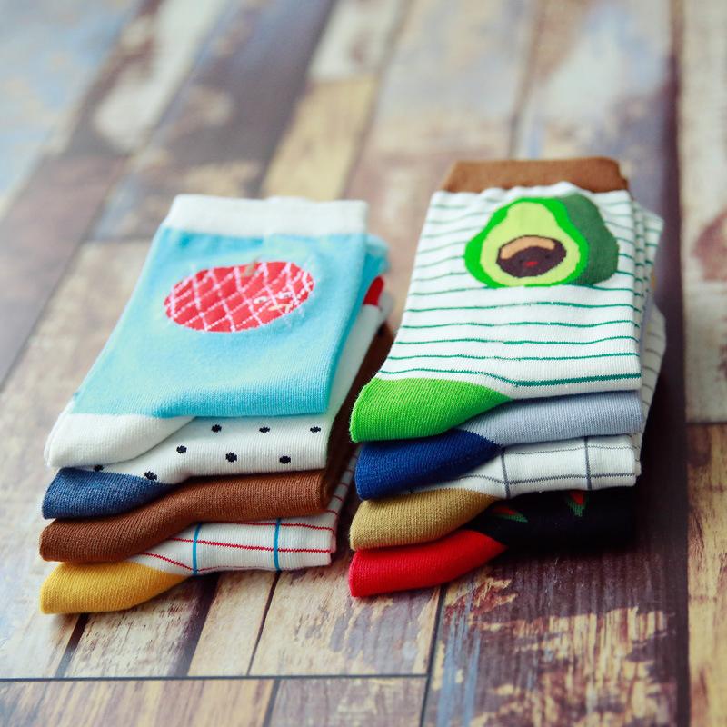 [해외]3Pair 재미 있은 양말 여성 3D 인쇄 양말 줄무늬 과일 양말 재미 있은 사랑스러운 참신 귀여운 발목 양말 면직 통기성 Meias/3Pair Funny Socks Women 3D Print Socks Striped Fruit Socks Funny Lovely