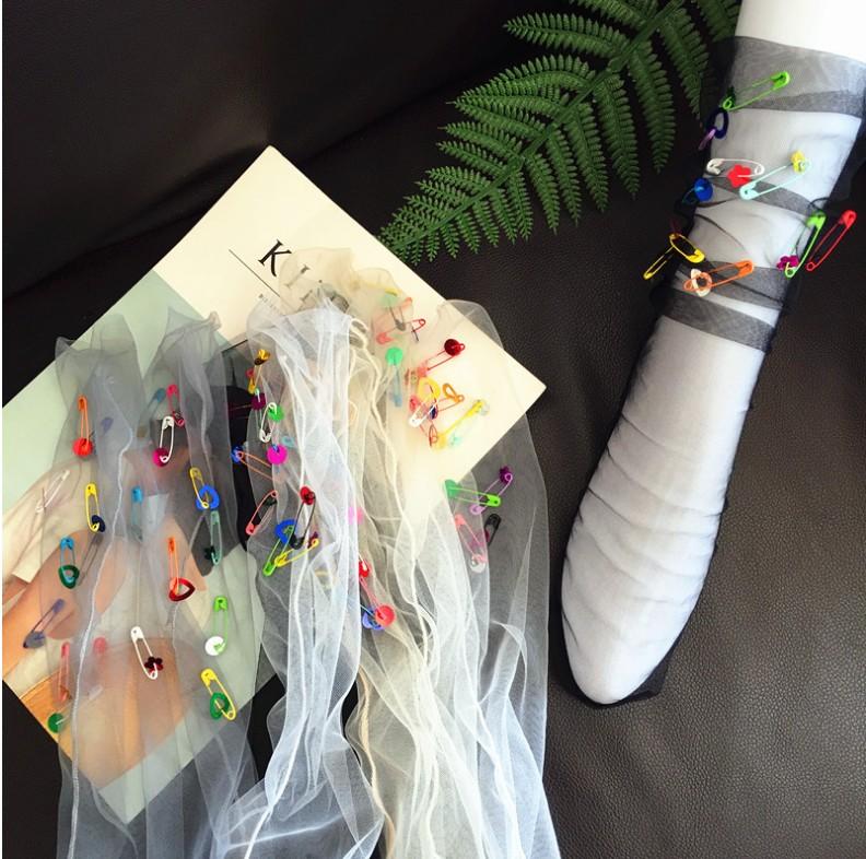 [해외]새로운 다채로운 스팽글 핀 원근법 얇은 명주 그물 여성 양말 패션 반짝 이는 하라주쿠 소프트 숙녀 재미 있은 양말 투명한 양말/New Colorful Sequins pin Perspective tulle Women Socks Fashion Shiny Haraju
