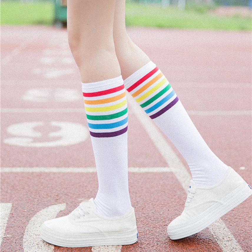 [해외]CHAMSGEND 1Pair 허벅지 높은 양말 무릎 꿇고 스트라이프 걸스 양말 ping 1M1/CHAMSGEND 1Pair Thigh High Socks Over Knee Rainbow Stripe Girls Socks ping 1M1