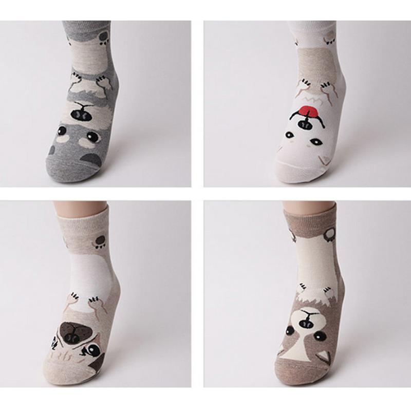 [해외]5Pair 여자와 코튼 양말 크리스마스 짧은 캐주얼 양말 귀여운 만화 양말 개 패턴 코튼 가을 겨울 따뜻한 양말 Meias 양말/5Pair Women&s Cotton Socks Christmas Short Casual Socks Cute Cartoon Sox D