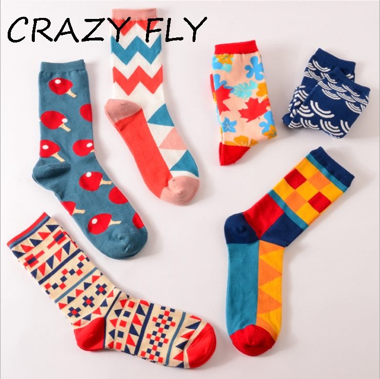 [해외]CRAZY FLY 2018 코튼 남성 & 양말 하라주쿠 인쇄 된 컬러 풀 한 승무원 숙녀 멋진 아트 양말 패션 참신 중간 긴 해피 양말/CRAZY FLY 2018 Cotton Men&s Socks Harajuku Printed Colorful Crew L