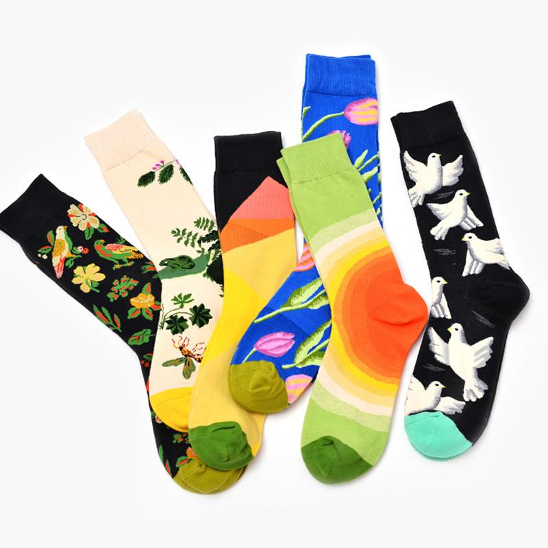 [해외]컬러 크루 코튼 남성 발목 양말 조수 브랜드 짧은 해피 삭스 스타일 재미 있은 양말 Chaussette 커플 재미있는 펑키를참신한 예술/Colour Crew Cotton Men Ankle Socks Tide Brand Short  Happy Sox Style F