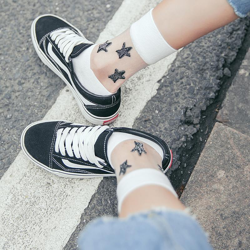 [해외]2018 년 여름 여성 양말 양말 예쁜 실크 양말 여성 실크 양말 안경 양말/2018 summer women socks cute socks korean fashion transparent stitching fiberglass ladies socks stars c