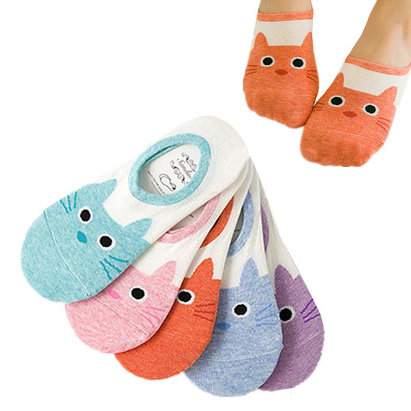 [해외]5 쌍 여성 캔디 컬러 양말 작은 고양이 동물 만화 짧은 코튼 보트 양말 통기성 캐주얼 여성 재미 발목 양말/5 Pairs Women Candy Color Sock Small Cat Animal Cartoon Short Cotton Boat Socks Breat