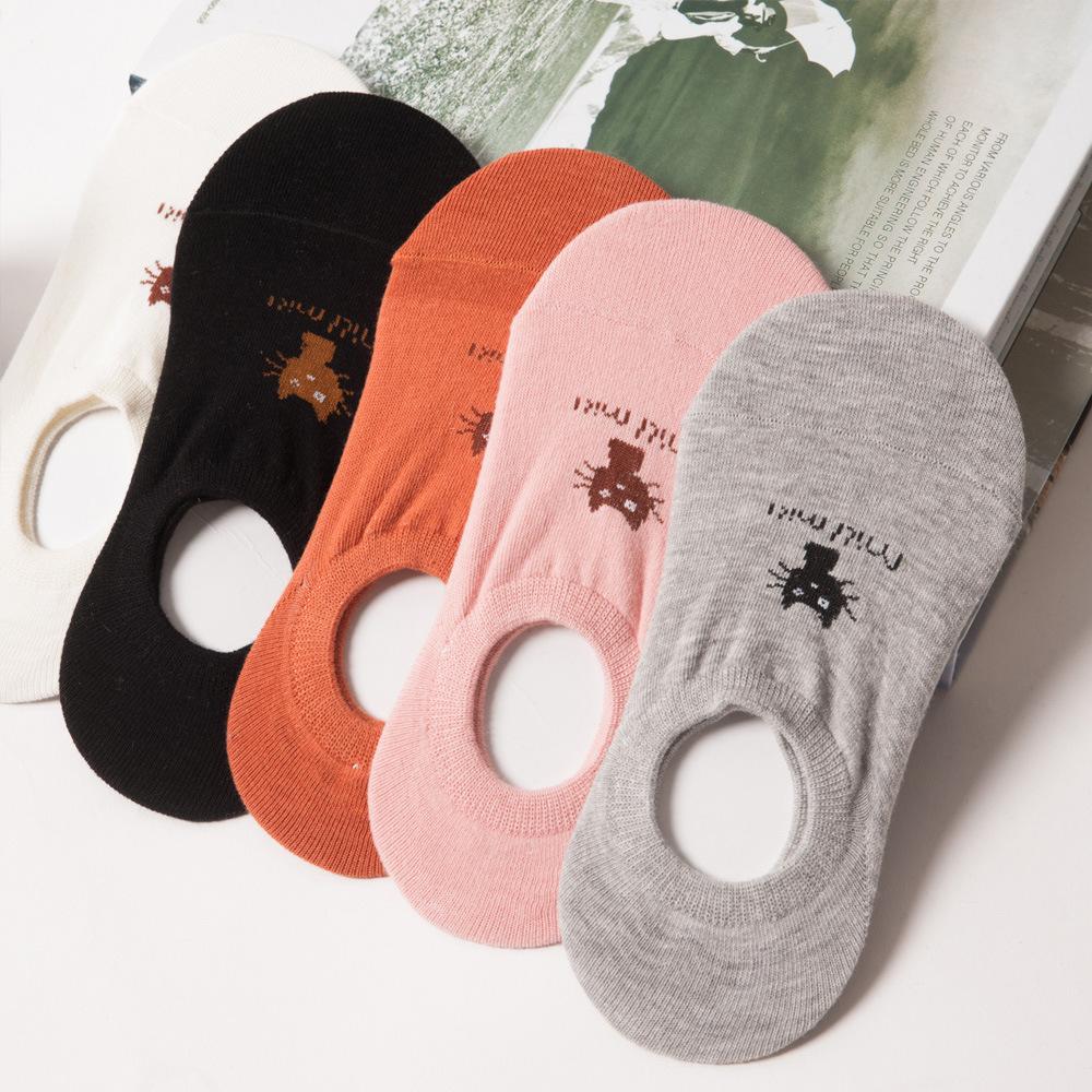 [해외]새로운 여름 순수한 색상의 고양이 얕은 입을 보이지 않는 양말 여성 양말 여성 면화 양말 비 - 슬립 Zhuji 양말 세트/New summer pure color cat shallow mouth invisible socks women socks women cot