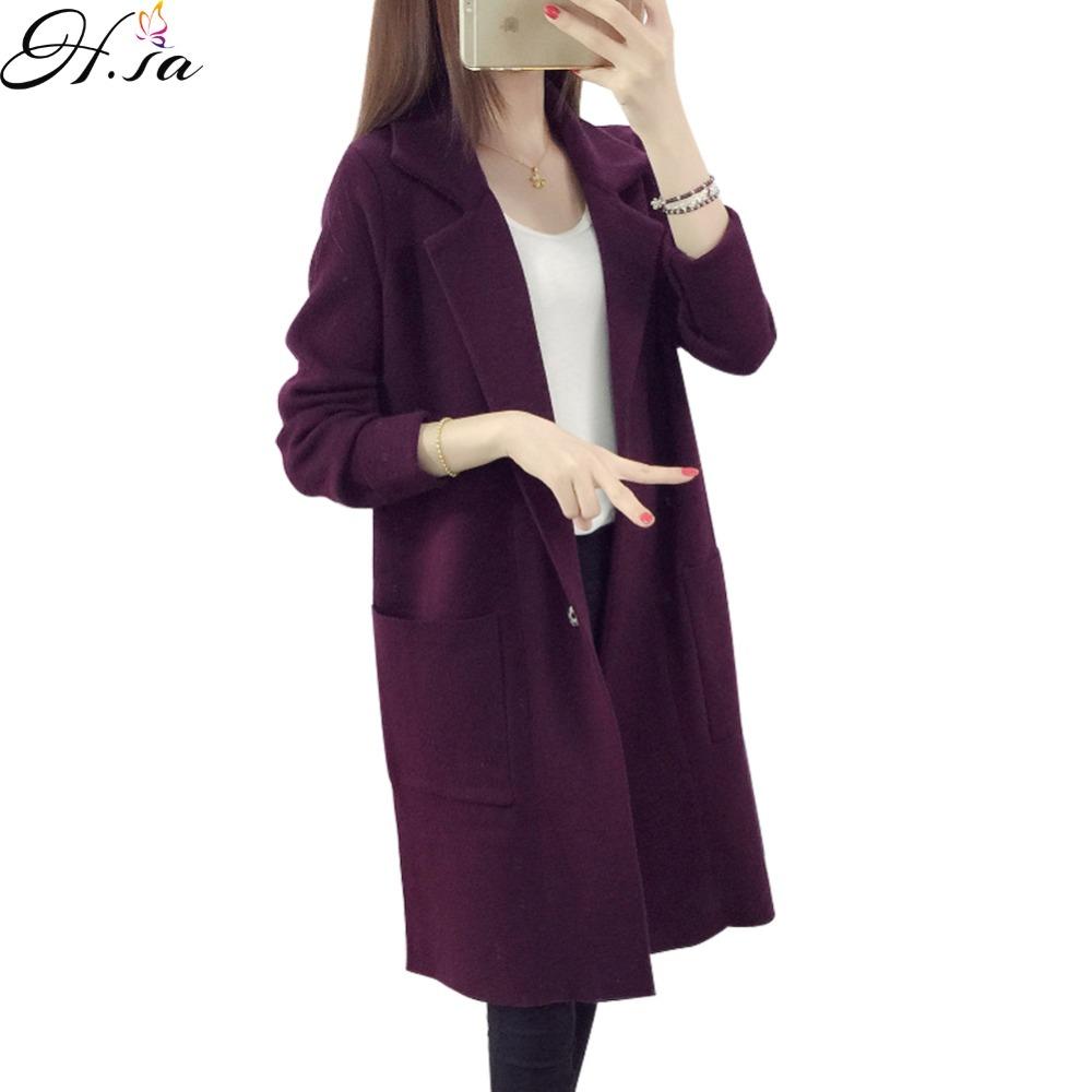 [해외]H.SA 2016 겨울 긴 스웨터 코트 여성용 정장 긴 카디건을 거절 크리스마스 스웨터 대형 코트 니트 camisola/H.SA 2016 Winter Long Sweater Coat for Women Turn Down Formal Long Cardigans Ch