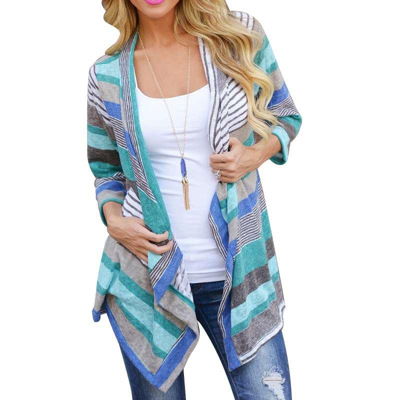 [해외]크기 S M L XL Boho Long 녹색 줄무늬 길이 긴 Retail 가디건 Outwear 여성용 니트 의류 Lady Female/Size S M L XL Boho Long Green Color Striped Length Long Sleeve Cardigan