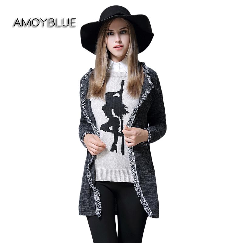 [해외]Amoyblue 플러스 사이즈 카디 건 여성용 니트 스웨터 긴 Retail 느슨한 술 패션 가을 그레이 니트 코트 플러스 사이즈 (L - 5XL)/Amoyblue Plus Size Cardigan Knit Sweater for Women Long Sleeve L