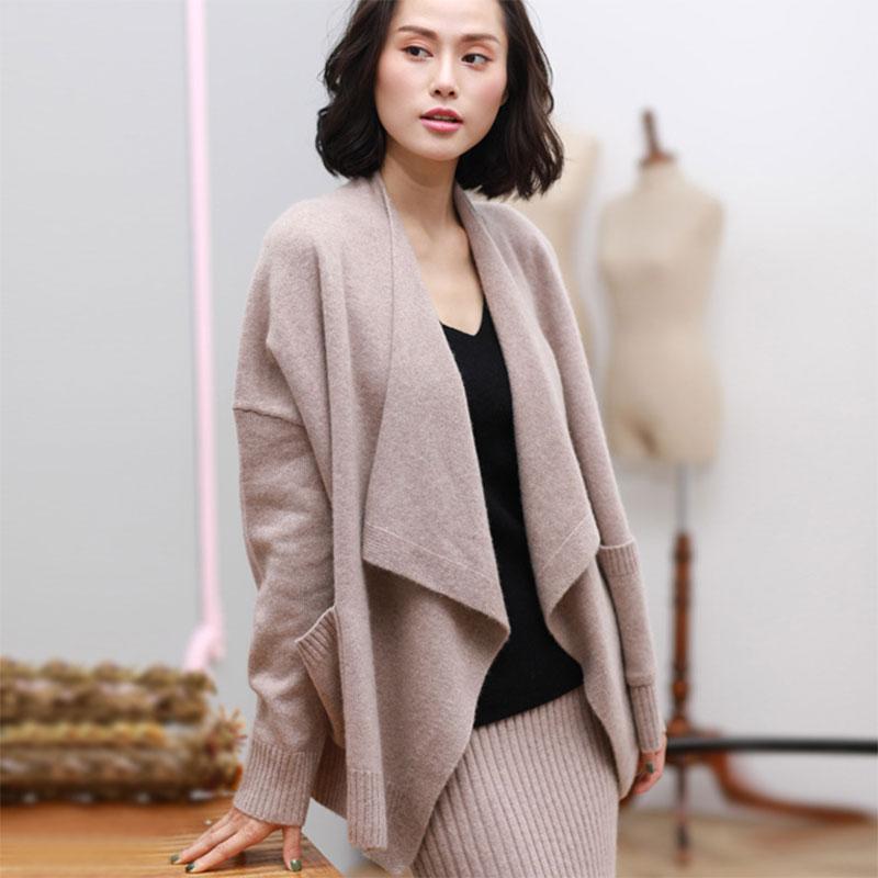 [해외]2017 가을 새로운 순수 캐시미어 여자 아이 카디 건 스웨터 최신 긴 Retail 겨울 / 가을 솔리드 컬러 대형 카디 건 포켓/2017 Fall New Pure Cashmere Womens Cardigan Sweaters Newest Long Sleeve W