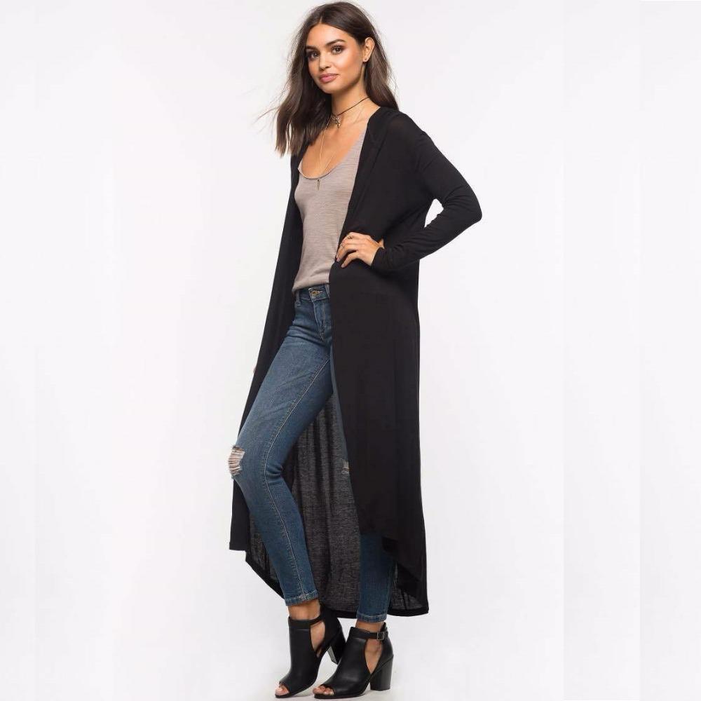 [해외]가을 2017 새로운 캐주얼 긴 후드 가디건 여성 패션 얇은 느슨한 긴 Retail 코튼 블랙 카디건 플러스 사이즈 봄 여름/Autumn 2017 New Casual Long Hooded Cardigan Women Fashion Thin Loose Long Sl