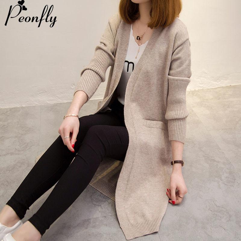 [해외]PEONFLY 새 여성 봄 / 가을 스웨터 롱 가디건 한국 슬림 포켓 루즈 니트 스웨터 아웃웨어 코트 balck/PEONFLY New Women Spring/ Autumn Sweater  Long Cardigan Korean Slim Pocket Loose Kn