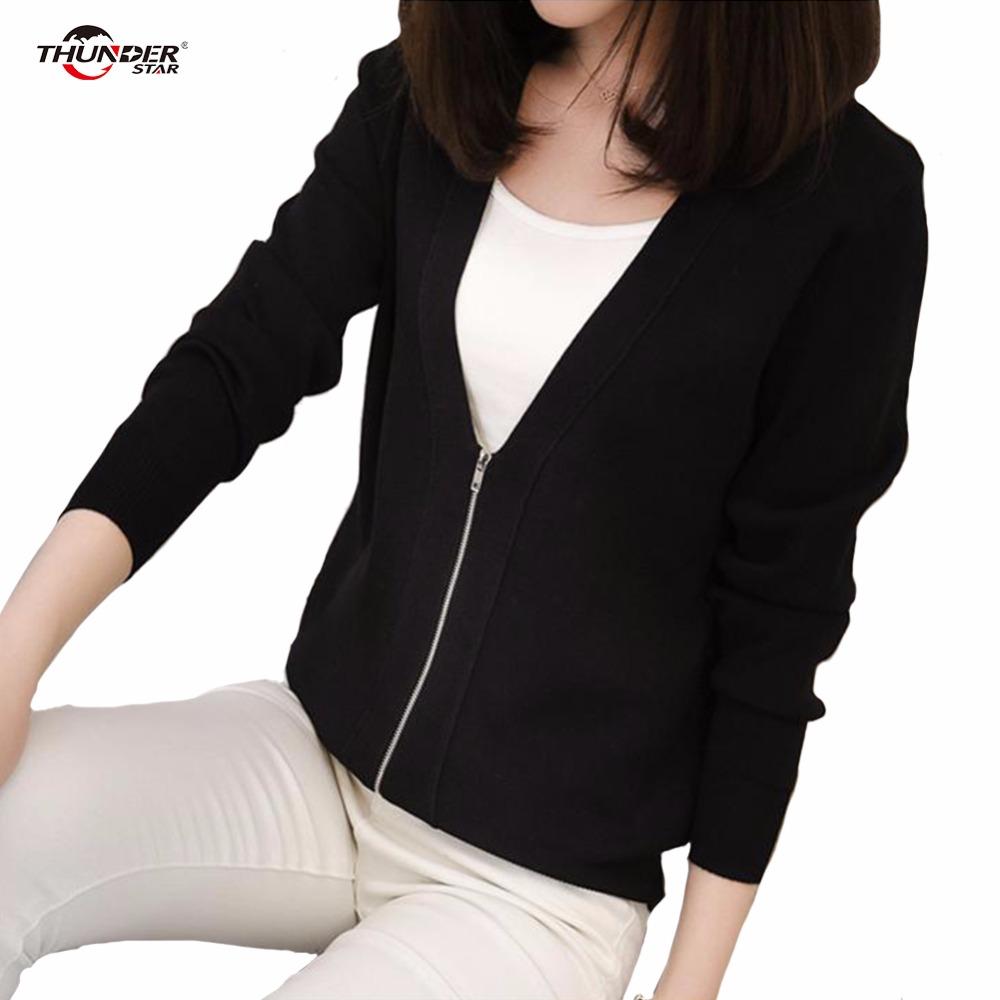 [해외]뜨개질 짧은 카디 건 여성 느슨한 지퍼 긴 Retail 니트 점퍼 2017 가을 스웨터 여성 카디 건 한국 옷/knitting Short Cardigan Female Loose Zipper Long Sleeve Knitted Jumper 2017 Autumn S