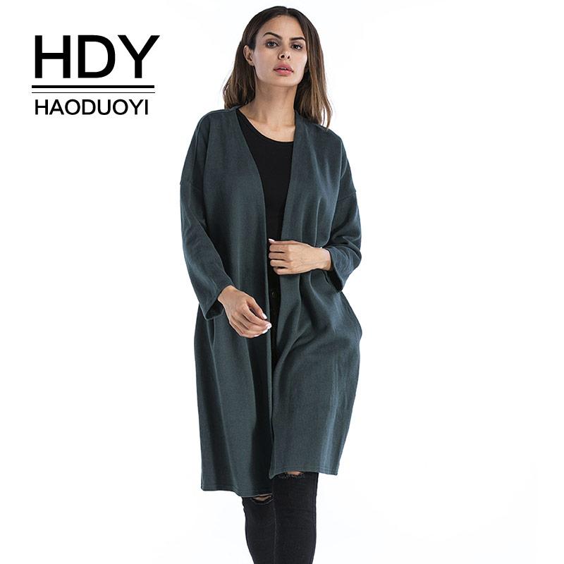 [해외]HDY Haoduoyi 여성용 가디건 롱 스웨터 풀 슬리브 포켓 니트 탑스 트렌치 코트 오픈 스티치 New 2018 Spring Clothing/HDY Haoduoyi Women Cardigans Long Sweater Full Sleeve Pocket Knit