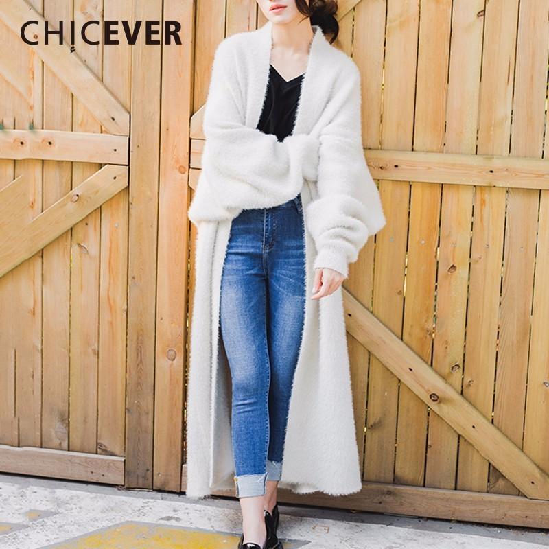 [해외]CHICEVER 겨울 가짜 담요 머리 카디 건 여성용 여성 스웨터 Batwing Retail 느슨한 큰 크기 두꺼운 스웨터 점퍼 의류/CHICEVER Winter Faux Sable Hair Cardigan Female Sweater For Women Batwi
