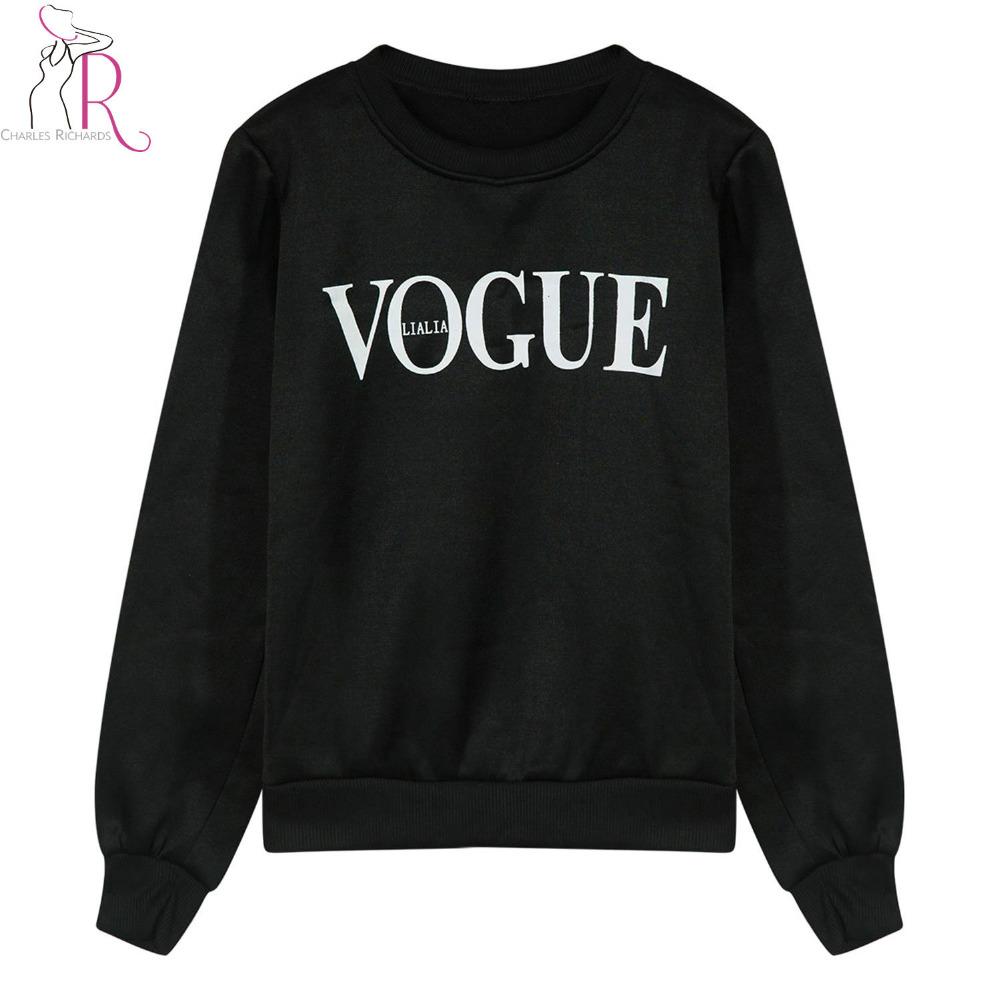[해외]가을 흑백 VOGUE 프린트 앞 스웨터 Women2017 라운드 넥 긴팔 캐주얼 루스 코튼 탑 풀오버/Autumn Black and White VOGUE Print Front Sweatshirt Women2017 Round Neck Long Sleeve Casu