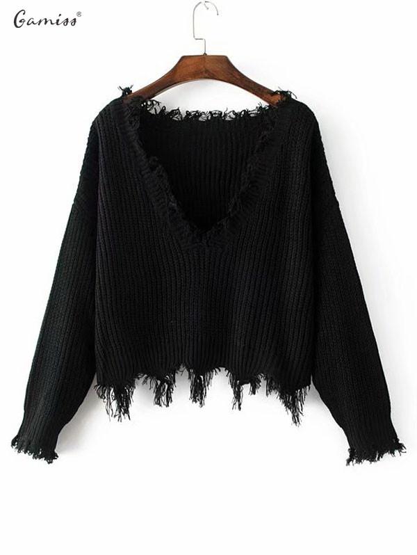 [해외]Gamiss 여성 가을 ??겨울 니트 악세사리 스웨터 V 넥 찢어진 느슨한 여성 짧은 Pullovers 스웨터 Femme 니트 점퍼/Gamiss Women Autumn Winter Knitted Distressed Sweaters Ripped V Neck Loo