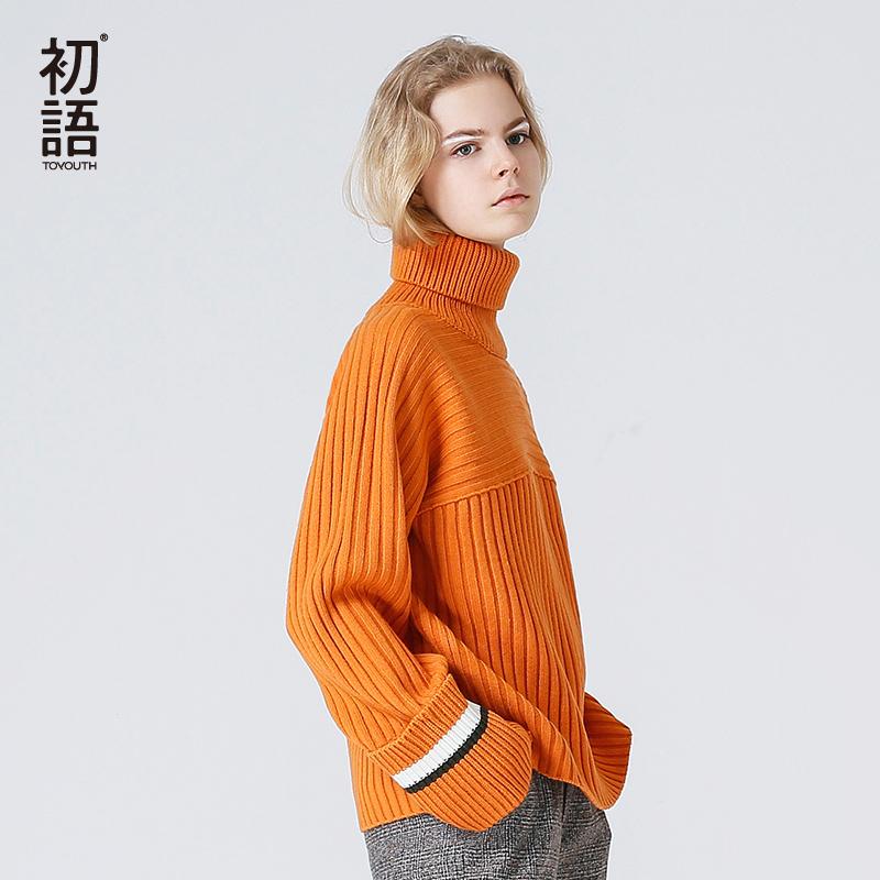 [해외]Toyouth 스웨터 2017 가을 여성 빈티지 명암 색상 패션 느슨한 터틀넥 니트 풀오버 스웨터/Toyouth Sweaters 2017 Autumn Women Vintage Contrast Color Fashion Loose Turtleneck Knitted