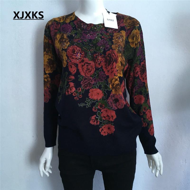 [해외]XJXKS 가을 겨울 중간 고령자 어머니 의류 스웨터 스웨터 니트 인쇄 꽃 캐시미어 O를 목걸이 스웨터/XJXKS Autumn Winter Middle-Aged Mother Clothing Sweater Pullover Knitted Print Flowers C