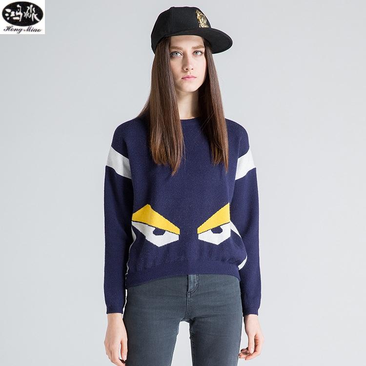 [해외]가을 겨울 여성 스웨터 새로운 패션 양모 만화 눈 뜨개질 - 긴팔 따뜻한 귀여운 스웨터 여성 캐주얼 풀오버/Autumn Winter Women Sweaters New Fashion Wool Cartoon Eyes Knitted Long-sleeved Warm C