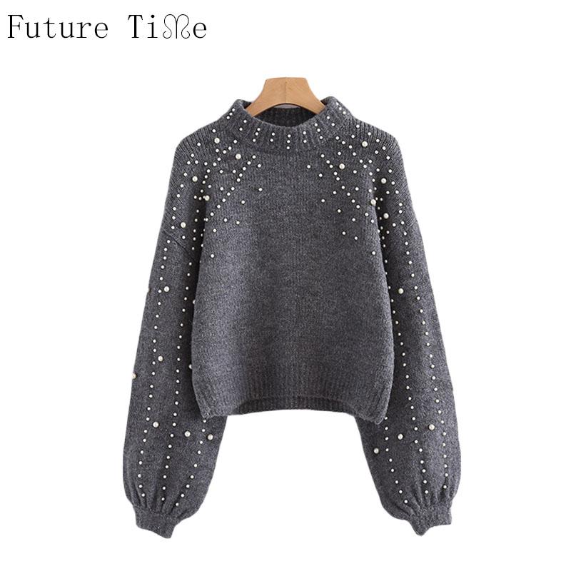 [해외]미래 시간 진주 파란색 된 리브 니트 점퍼 겨울 여자 스웨터 회색 스탠드 칼라 긴 Retail 꽉 스웨터 MY207/Future Time Pearl Beaded Rib Knit Jumper Winter Womens Pullover Sweaters Grey Sta
