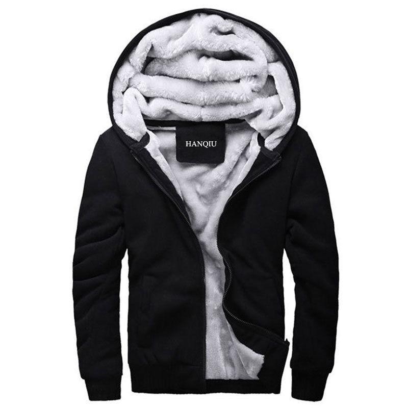 블랙 후드 남자 2020 겨울 자 켓 패션 두꺼운 남자 후드 스웨터 남성 따뜻한 모피 라이너 스포츠 Tracksuits 망 코트
