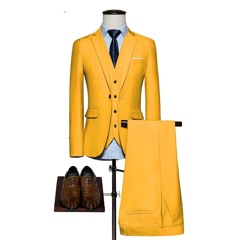 [해외]남성 정장 2018 슬림 피트 3 조각 신랑 결혼식 정장 M-6XL 레드 옐로우 진한 녹색 화이트 퍼플 남성용 정장 (재킷 + 바지 + 조끼)/Mens Suits 2018 Slim Fit 3 Piece Groom Wedding Suit M-6XL Red Yell