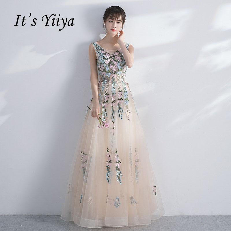 [해외]그것은 Yiiya 민Retail 꽃 유화 인쇄 레이스 최대 - 라인 우아한 이브닝 드레스 층 길이 파티 가운 이브닝 드레스 LX037/It`s Yiiya Sleeveless Floral Illusion Print Lace Up A-line Elegant Even