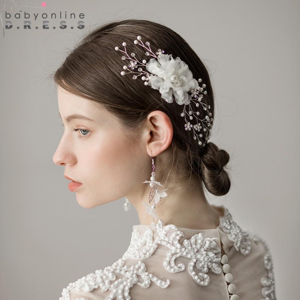 [해외]2018 Tulle Flower 페르시 빗 웨딩 헤어 액세서리 웨딩 헤어 액세서리 클립 메탈 펄 티아라 드롭 헤어핀 클립 머리띠/2018 Tulle Flower Beaded Comb Bridal Headwear Wedding Hair Accessories Cli