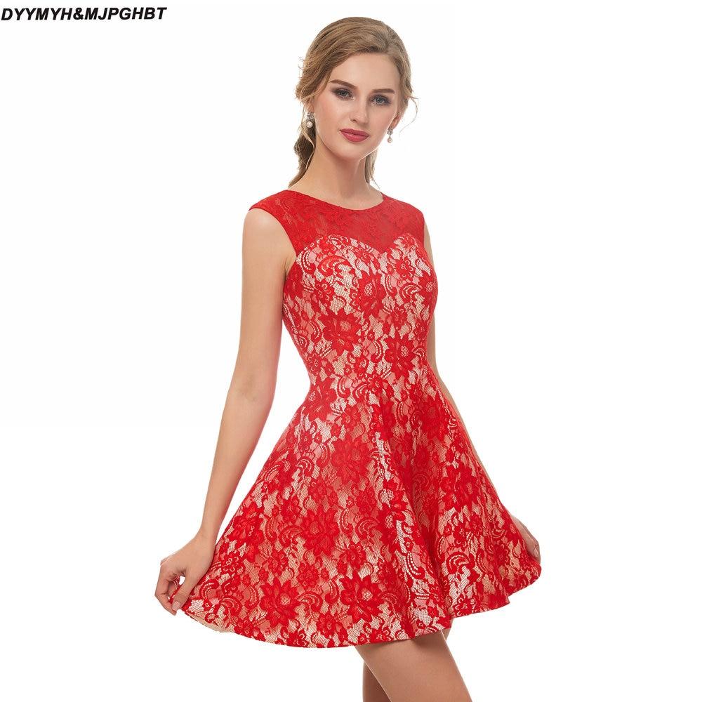 [해외]사랑스러운 레드 레이스 졸업 드레스 무릎 길이 짧은 칵테일 드레스 위/Lovely Red Lace Graduation Dresses Above Knee Length Short Cocktail Dress