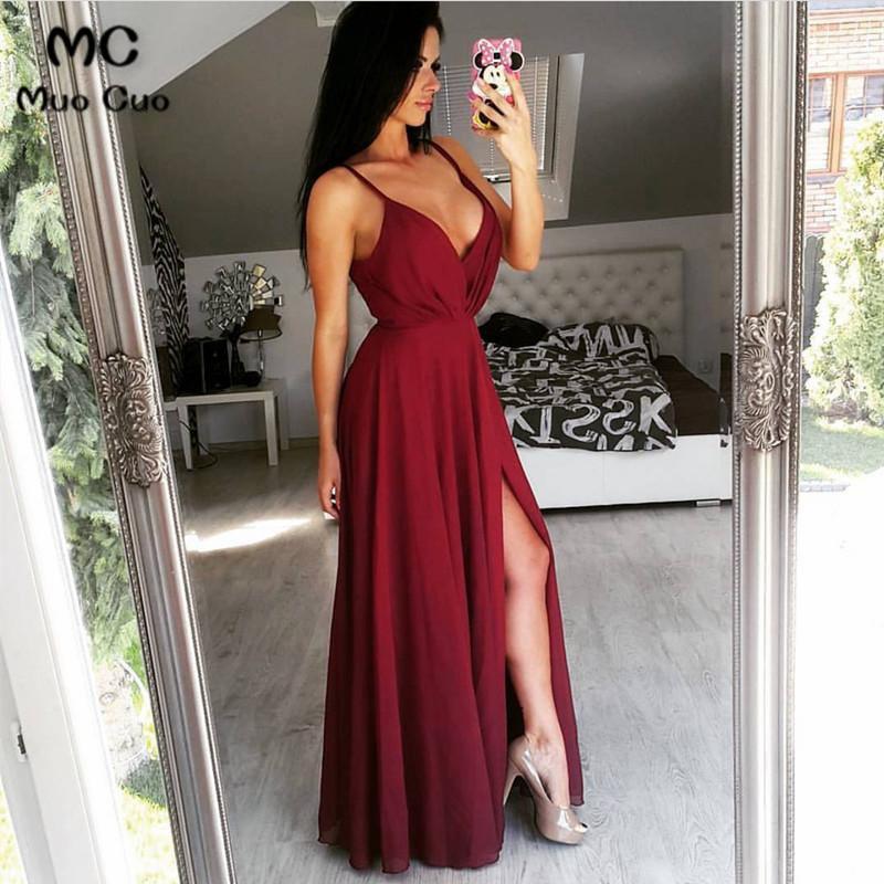 [해외]2018 버건디 댄스 파티 드레스 긴 층 길이 스파게티 스트랩 V 넥 프론트 슬릿 시폰 정장 이브닝 파티 드레스 여성을위한/2018 Burgundy Prom Dresses Long Floor Length Spaghetti Straps V-Neck Front Sl