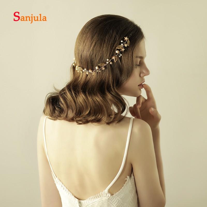 [해외]핸드 메이드 골드 잎 꽃 진주 웨딩 헤어 밴드 2018 화려한 웨딩 헤어 액세서리 trabas para el pelo mujer H101/Handmade Gold Leaves Flowers Pearls Wedding Headband 2018 Gorgeous We