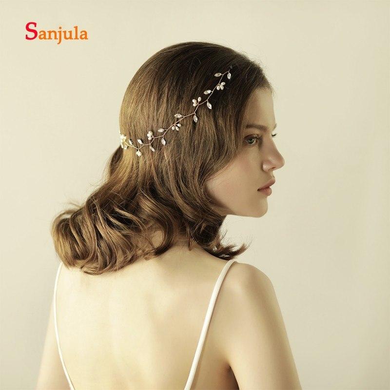 [해외]신부 헤어 액세서리에 대한 간단한 머리띠 라인 석 진주 화려한 신부 머리 장식 액세서리 cheveux 결혼 H98/Simple Headband for Bridal Hair Accessories Rhinestones Pearls Gorgeous Bride Hair