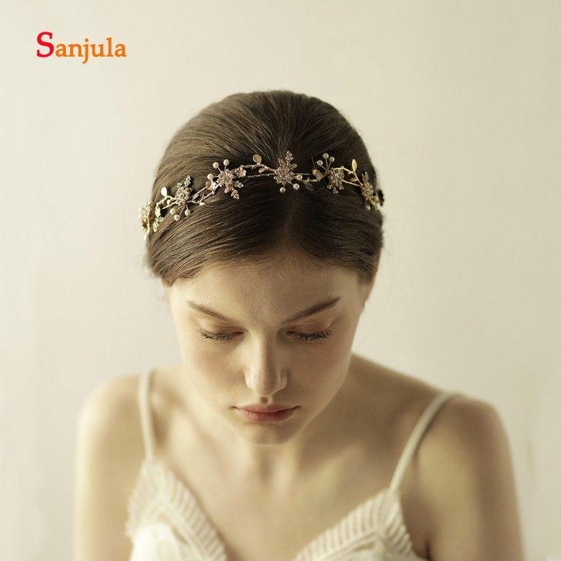 [해외]빈티지 브라 모자 골드 컬러 진주 나뭇잎 꽃 바로크 신부 크라운 웨딩 헤어 액세서리 krone haarschmuck H92/Vintage Bridal Hats Gold Colors Pearls Leaves Flowers Baroque Bridal Crown We
