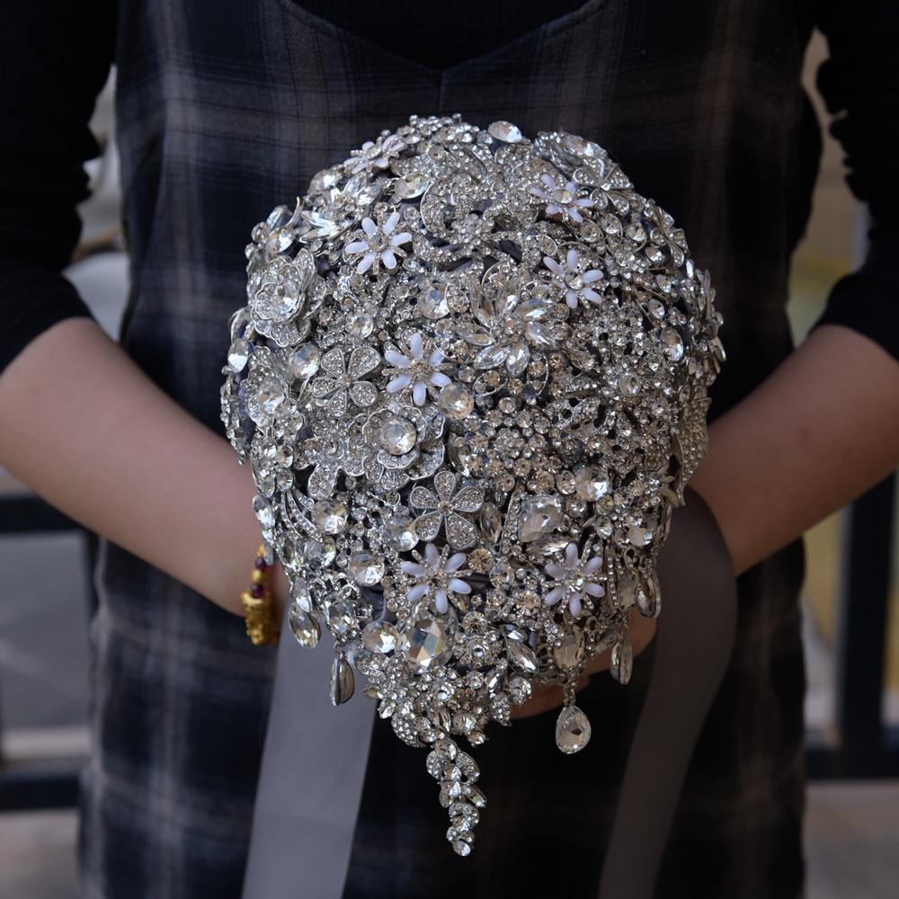 [해외]DIA 18 * 22CM 럭셔리 전체 크리스탈 라인 석 물 드롭 웨딩 부케 패션 여성 신부 웨딩 꽃 액세서리/DIA 18*22CM Luxury Full Crystal Rhinestone Water Drop Wedding Bouquet Fashion Women B