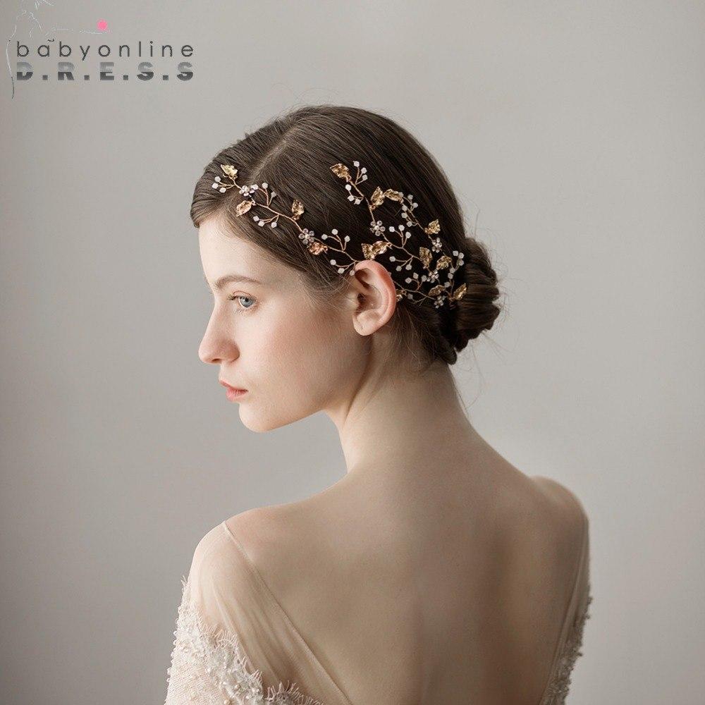 [해외]2018 골드 리프 웨딩 크리스탈 라인 석 브라 이어 헤드 웨딩 헤어 액세서리 클립 금속 티아라 드롭 HairPin 클립 머리띠/2018 Gold Leaf Wedding Crystal Rhinestone Bridal Headwear Wedding Hair Acc