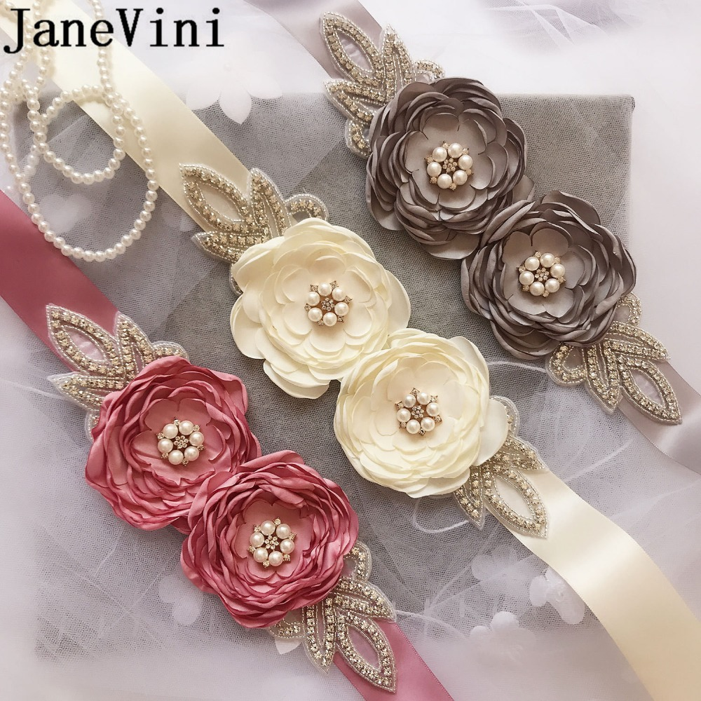 [해외]JaneVini 새 진주 꽃 크리스탈 신부 들러리 신부 벨트 라인 석 파스텔 드레스 크리스탈 Vaded 벨트 Cinturon Vestido/JaneVini New Pearls Flowers Cristal Bridesmaid Bridal Belt Rhineston