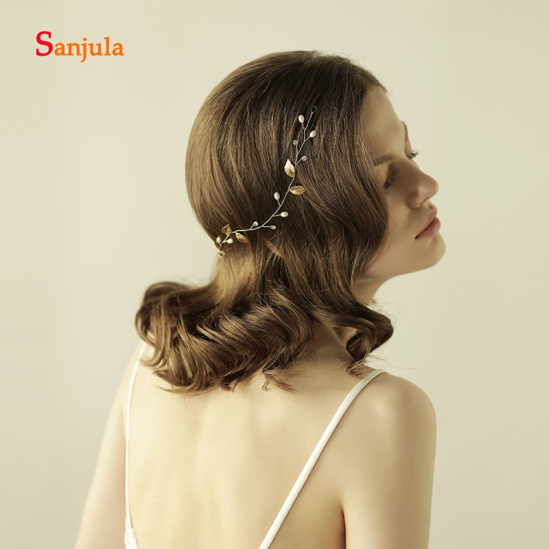 [해외]골드 Leal Pealrs 비즈 반짝 이는 브라 이어 머리띠 리본 여성 헤어 액세서리 헤어 액세서리 tocados de novia H99/Gold Leaves Pealrs Beads Shiny Bridal HeadbandRibbons Women Wedding H