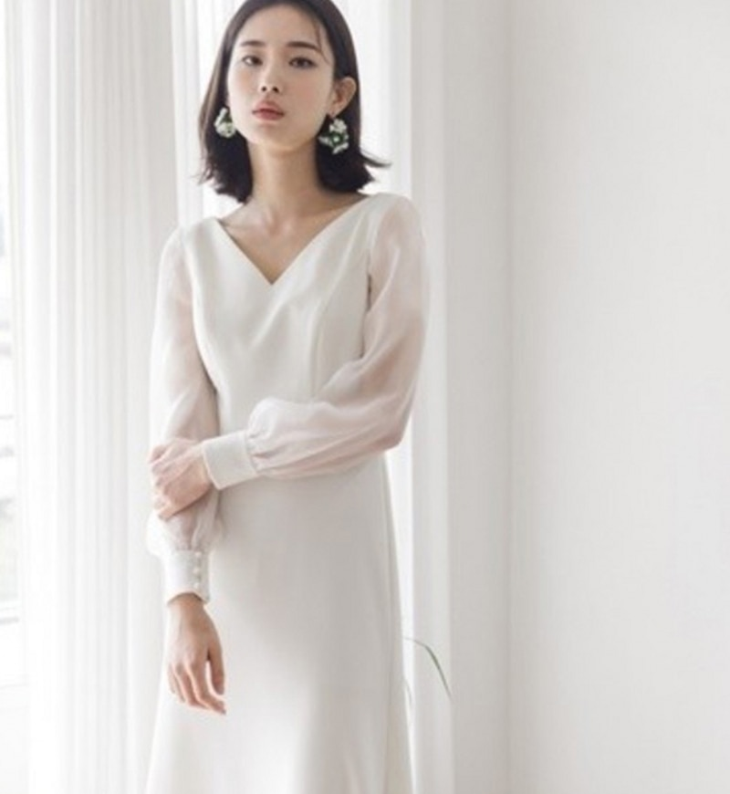 [해외]2019 Chic Boho Beach Wedding Dress Ankle Length Satin Wedding Gowns Sheer Long Sleeves Bridal Dress robe de mariage Vestidos/2019 Chic Boho Beach