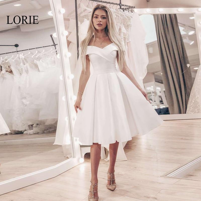[해외]Lorie 짧은 레이스 웨딩 드레스 어깨에서 벗어나 간단한 a 라인 브라 가운 화이트 아이보리 로브 드 mariage 웨딩 파티 드레스